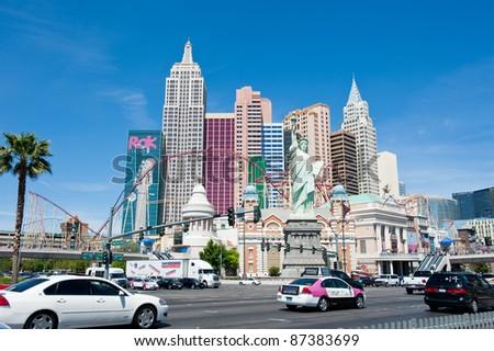 LAS VEGAS, NEVADA, USA - CIRCA APRIL 2011: New York - New York Hotel & Casino. Replica of the Statue of Liberty is 150 ft (46 m) - stock photo