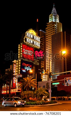 LAS VEGAS, NEVADA, USA - CIRCA APRIL 2011: New York - New York Hotel & Casino. This is a luxury hotel and casino located on the Las Vegas Strip. It was opened on Jan. 3, 1997 - stock photo