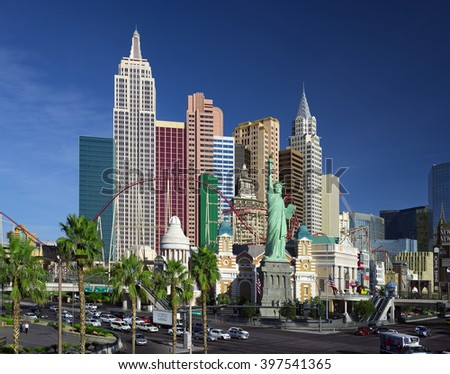 LAS VEGAS, NEVADA USA - MARCH 25, 2016: Las Vegas was founded in May 1905 and incorporated as the city in 1911. Pictured is Las Vegas Boulevard with New York Hotel and replica of the Staue of Liberty.