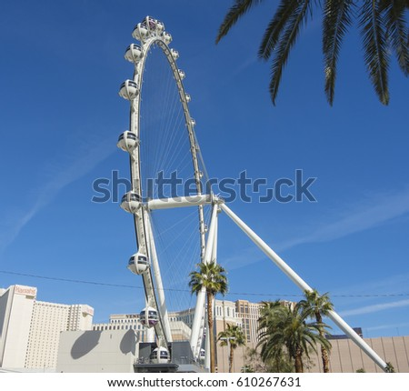 Las Vegas, Nevada, USA - March. 08, 2017. The High Roller Ferris Wheel during a wonderful day