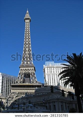 LAS VEGAS, NEVADA, USA  - NOVEMBER 03: Eiffel Tower  Paris Las Vegas Hotel Casino 2012 - stock photo