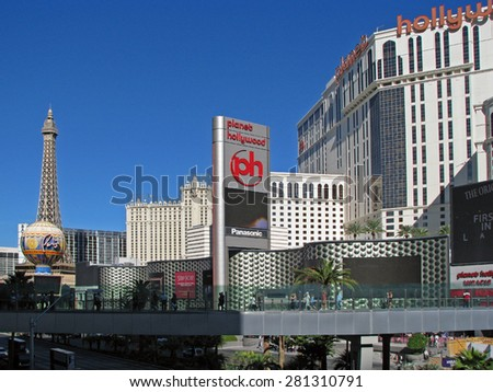 LAS VEGAS, NEVADA, USA  - NOVEMBER 03: Paris Las Vegas and Planet Hollywood Resort Casino Hotel 2012 - stock photo