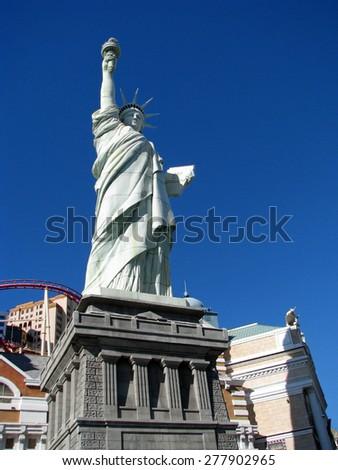 LAS VEGAS, NEVADA, USA  - NOVEMBER 11: Replica of the Statue of Liberty New York-New York Hotel Casino 2012 - stock photo