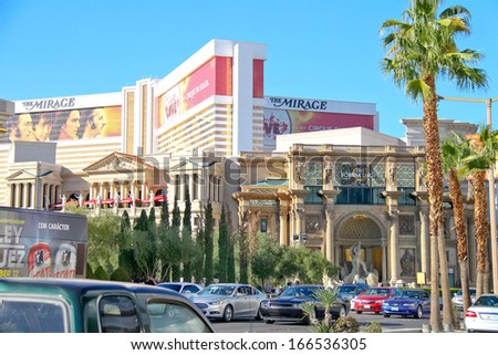 LAS VEGAS, NEVADA, USA - OCTOBER 20 : Cars on the Strip on October 20, 2013 in Las Vegas, Nevada.  40 million tourists visited Las Vegas in 2012 - stock photo