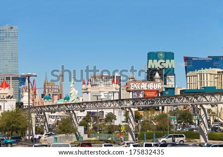 LAS VEGAS, NEVADA, USA - OCTOBER 21, 2013 : City landscape in Las Vegas, Nevada. 40 million tourists visited Las Vegas in 2012 - stock photo