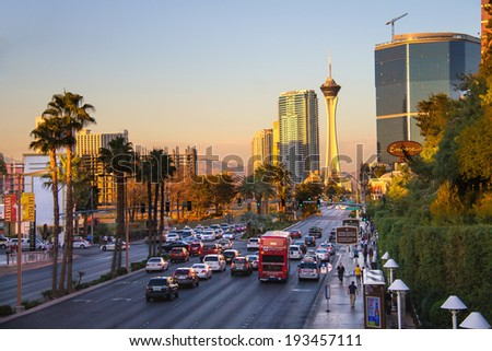 LAS VEGAS, NEVADA, USA - OCTOBER 25, 2013 : City landscape. Sunrise in Las Vegas, Nevada. 40 million tourists visited Las Vegas in 2012  - stock photo
