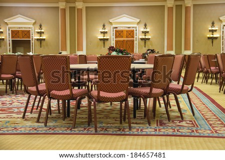 LAS VEGAS, NEVADA, USA - OCTOBER 23, 2013 : Conference hall in Caesar's Palace in Las Vegas, Caesar's Palace hotel opened in 1966 and has a Roman Empire theme. - stock photo