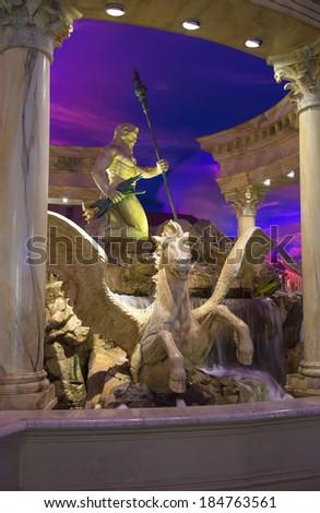 LAS VEGAS, NEVADA, USA - OCTOBER 23, 2013 :Fountain in Caesar's Palace in Las Vegas, Caesar's Palace hotel opened in 1966 and has a Roman Empire theme. - stock photo
