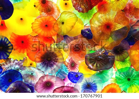 LAS VEGAS, NEVADA, USA - OCTOBER 21, 2013 : Glass flowers on the ceiling in Bellagio Hotel in Las Vegas. The composition consists of 2,000 glass flowers by sculptor Dale Chihuly - stock photo