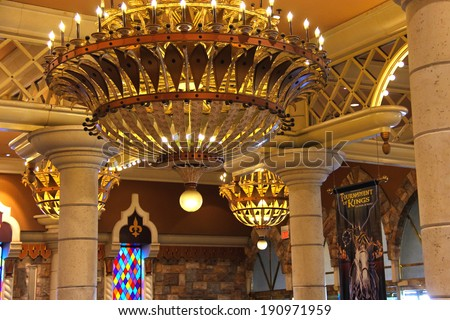 LAS VEGAS, NEVADA, USA - OCTOBER 21, 2013 : Interior the Excalibur Hotel  in Las Vegas. Excalibur was opened in 1990 and now offers its customers 100,000 sq ft casino with over 1700 slot machines