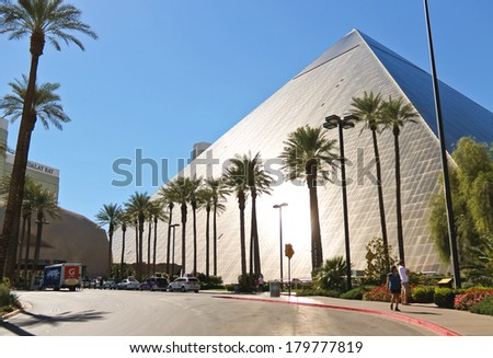LAS VEGAS, NEVADA, USA - OCTOBER 21, 2013 : Luxor Hotel and Casino in Las Vegas. Theme hotel Egypt and it was opened in 1993