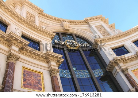 """LAS VEGAS, NEVADA, USA - OCTOBER 20, 2013 : Mall """"The Forum Shops"""" in Caesar's Palace in Las Vegas, Caesar's Palace hotel opened in 1966 and has a Roman Empire theme.  - stock photo"""