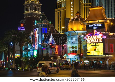 LAS VEGAS, NEVADA, USA - OCTOBER 23, 2013 : Night view of Las Vegas. The Las Vegas Strip is an approximately 4.2-mile stretch of Las Vegas Boulevard South in Clark County, Nevada.