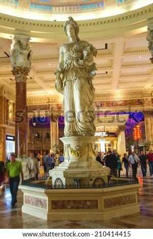 LAS VEGAS, NEVADA, USA - OCTOBER 23, 2013 : Statue in Caesar's Palace in Las Vegas, Caesar's Palace hotel opened in 1966 and has a Roman Empire theme. - stock photo