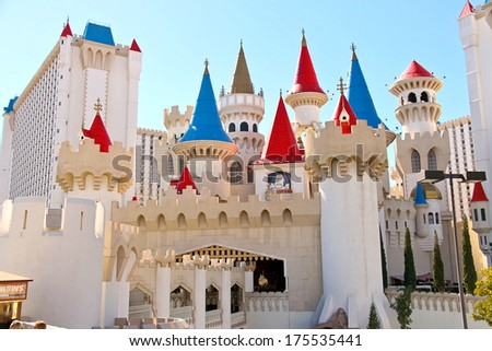 LAS VEGAS, NEVADA, USA - OCTOBER 21, 2013 : The Excalibur Hotel and Casino in Las Vegas. Excalibur was opened in 1990 and now offers its customers 100,000 sq ft casino with over 1700 slot machines - stock photo