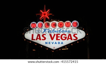 LAS VEGAS, NEVADA, USA 8 SEP 2011, Welcome to Fabulous Las Vegas sign at night in Nevada, USA - stock photo