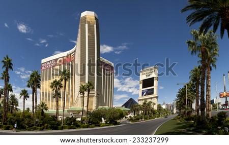 "Las Vegas, Nevada, USA - Sept. 20, 2014: Mandalay Bay Casino and Hotel luxury resorts is located at the southern end of ""The Strip"" in Las Vegas, Nevada, USA on Sept. 20, 2014 - stock photo"