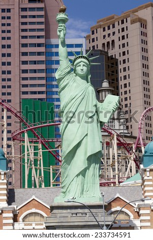 Las Vegas, Nevada, USA - Sept. 20, 2014: New York-New York Casino and Hotel architecture facade features many of the New York City icons in Las Vegas, Nevada on Sept. 20, 2014    - stock photo