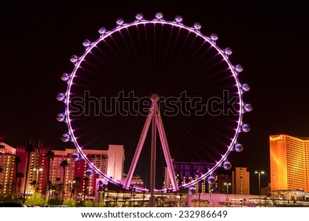 Las Vegas, Nevada, USA - Sept. 25, 2014: Night picture of The High Roller Ferris Wheel in Las Vegas stands tall 550-foot and has a diameter of 520-foot in Las Vegas, Nevada, USA on Sept. 25, 2014 - stock photo