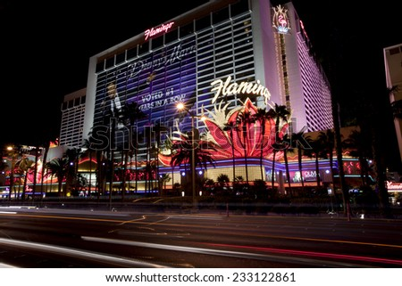 Las Vegas, Nevada, USA - Sept. 25, 2014: Nightlife along the Las Vegas Strip in front of the Paris Casino in Las Vegas, Nevada, USA - Sept. 25, 2014