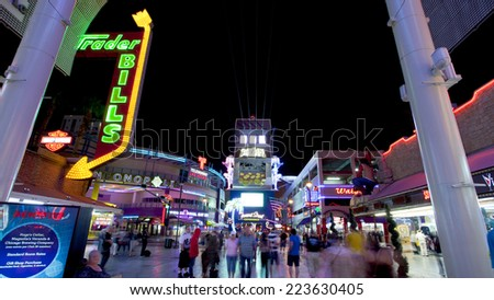 Las Vegas, Nevada, USA - Sept 24, 2014: Slotzilla. It's a 12-story slot machine at the east side of the Fremont Street Experience that offers 2 zip-line Las Vegas, Nevada, USA on Sept 24, 2014 . - stock photo