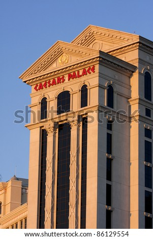 LAS VEGAS, NEVADA/USA - SEPTEMBER 27: Sunrise at Caesars Palace in September 2011 in Las Vegas. Built in 1966, Caesars Palace Las Vegas has 3348 rooms and 129000 square feet of casino floor - stock photo
