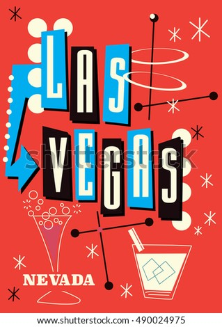 Las vegas nevada vintage style travel stock illustration for Same day t shirt printing las vegas