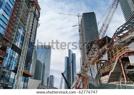 LAS VEGAS:  New Construction. There is a huge development in Las Vegas. More than 80 high-rise, condo, hotel, mixed-use and other major projects in the Las Vegas area are in various stage - stock photo