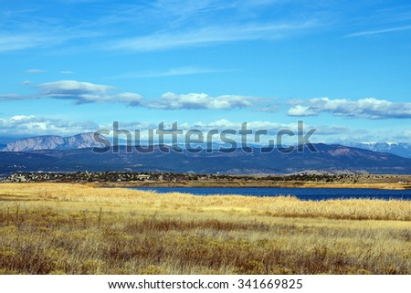 Las Vegas (NM) National Wildlife Refuge with Sangre de Cristo Mountains in background - stock photo