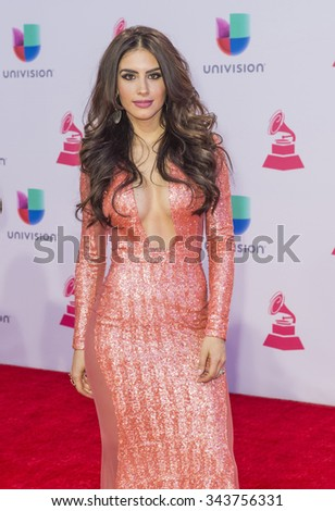 LAS VEGAS , NOV 19 : Actress Jessica Cediel attends the 16th Annual Latin GRAMMY Awards on November 19 2015 at the MGM Grand Arena in Las Vegas, Nevada - stock photo