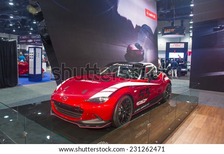 LAS VEGAS - NOV 07 :  Mazda sport car at the SEMA Show in Las Vegas, Navada, on November 07, 2014. The SEMA Show is the premier automotive specialty products trade event in the world.
