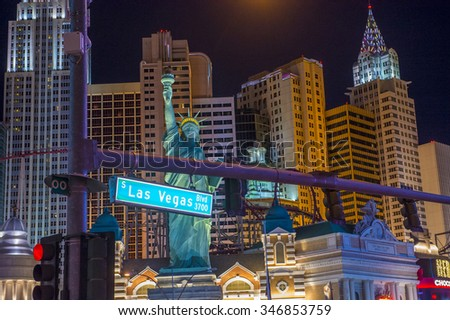 LAS VEGAS - NOV 17 : New York-New York Hotel & Casino in Las Vegas on November 17 2015 , This hotel simulates the real New York City skyline and It was opened in 1997. - stock photo