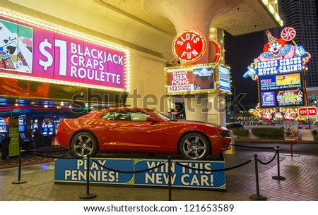 LAS VEGAS - NOV 08: The Circus Circus hotel and casino sign on November 08, 2012 in Las Vegas. Las Vegas in 2012 is projected to break the all-time visitor volume record of 39-plus million visitors - stock photo