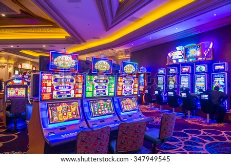 LAS VEGAS - NOV 17 : The interior of Mandalay Bay resort on November 17, 2015 in Las Vegas. The resort, which opened in 1999, has 3,309 hotel rooms, 24 elevators and a casino of 135,000 sq ft - stock photo