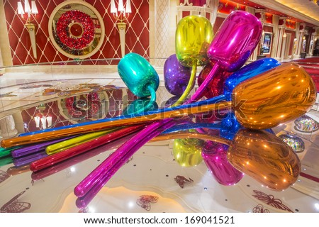 LAS VEGAS - NOV 24 : The Jeff Koons Tulips Sculpture display at the Wynn Hotel in Las Vegas on November 24 2013. The sculpture purchased by Steve Wynn in 2012 for $33.6 million dollars - stock photo