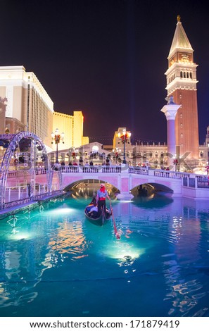 LAS VEGAS - NOV 15 : The Venetian hotel and replica of a Grand canal in Las Vegas on November 15, 2013. With more than 4000 suites it`s one of the most famous hotels in the world - stock photo