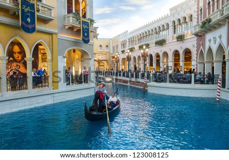 LAS VEGAS - NOV 19 : Venetian Resort Hotel & Casino on November 19, 2012 in Las Vegas. Las Vegas in 2012 is projected to break the all-time visitor volume record of 39-plus million visitors - stock photo