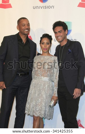 LAS VEGAS - NOV 19:  Will Smith, Jada Pinkett Smith, Trey Smith at the 16th Latin GRAMMY Awards at the MGM Grand Garden Arena on November 19, 2015 in Las Vegas, NV - stock photo