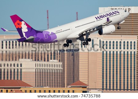 LAS VEGAS - NOVEMBER 12: A330 Hawaiian climb after take off from McCarran in Las Vegas on November 12, 2010. Hawaiian Airlines are the only airlines based in Hawaii serve international flights