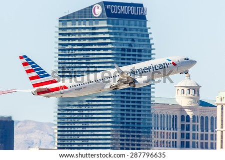 LAS VEGAS - NOVEMBER 3: Boeing 737 American Airlines takes off from McCarran Airport in Las Vegas, NV on November 3, 2014. American Airlines is one of the oldest airlines in United States.  - stock photo