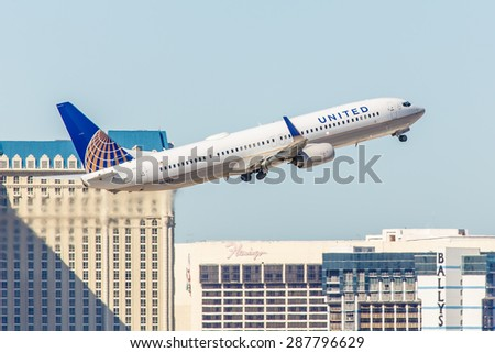 LAS VEGAS - NOVEMBER 3 Boeing 737 United Airlines takes off from McCarran Airport in Las Vegas, NV on November 3, 2014. United is a major US airline. It has the worldâ??s most rewarding loyalty program.