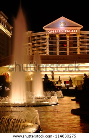 LAS VEGAS - NOVEMBER 30: Caesars Palace hotel and casino on November 30, 2011 in Las Vegas.  Caesars Palace opened in the 1960's and has a Roman Empire theme. - stock photo