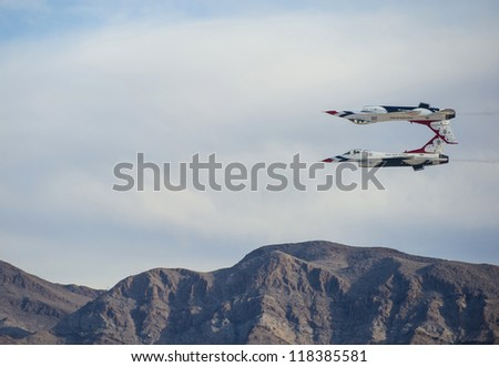 LAS VEGAS - NOVEMBER 10: planes performing in the annual air show called Aviation Nation on November 10, 2012 in Las Vegas, NV, USA