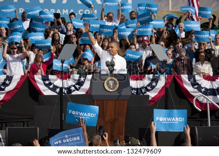 LAS VEGAS - NOVEMBER 01: President Barack Obama speaks at Presidential Campaign rally at Cheyenne Sports Complex on November 01, 2012 in North Las Vegas, Nevada - stock photo