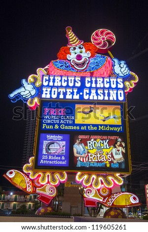 LAS VEGAS - NOVEMBER 08:The Circus Circus hotel & casino sign on November 08, 2012 in Las Vegas. Las Vegas in 2012 is projected to break the all-time visitor volume record of 39-plus million visitors - stock photo