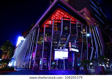 LAS VEGAS - NOVEMBER 30: The Cosmopolitan of Las Vegas on November 30, 2011 in Las Vegas.  The Cosmopolitan is a casino and hotel that opened in 2010 on the famous Las Vegas Strip. - stock photo