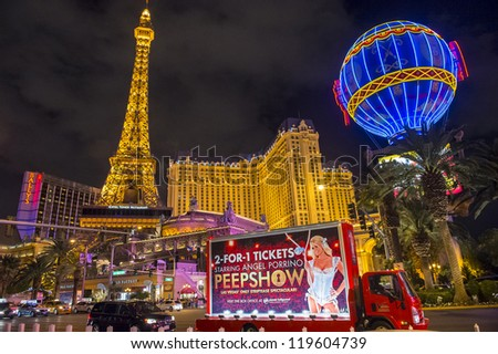 LAS VEGAS - NOVEMBER 08: The Paris Las Vegas hotel and casino on November 08, 2012 in Las Vegas. Las Vegas in 2012 is projected to break the all-time visitor volume record of 39-plus million visitors - stock photo