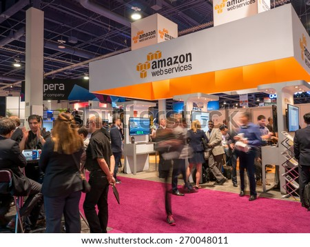 LAS VEGAS, NV - April 15: Amazon at NAB Show 2015 exhibition. NAB Show is an annual trade show produced by the National Association of Broadcasters in Las Vegas Convention Center during April 13-16 - stock photo