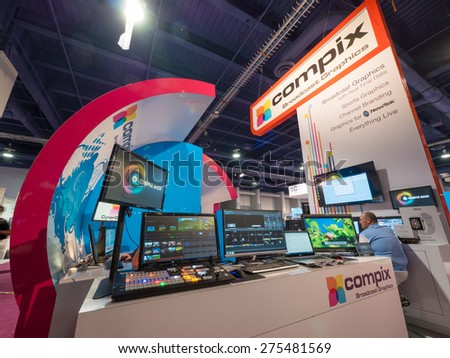 LAS VEGAS, NV - April 15: Compix broadcast graphics booth at NAB Show 2015, an annual trade show by the National Association of Broadcasters. - stock photo