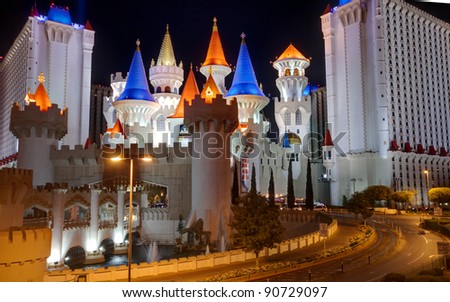 LAS VEGAS, NV -  APRIL 10: Excalibur Hotel and Casino on April 10, 2011 in Las Vegas, Nevada. Its owner - MGM Resorts reported strong net revenue gain of 43% to $2.23 billion in third quarter 2011 - stock photo